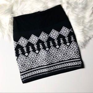 H&M Beaded Aztec Tribal Black Skirt